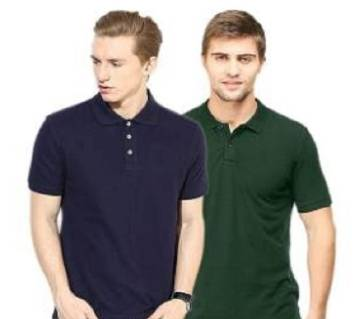 MULTICOLOR Casual Half Sleeve Polo t-Shirt For MenCombo Pack of 2