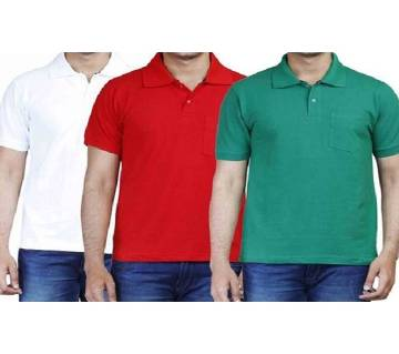 MULTICOLOR Casual Half Sleeve Polo t-Shirt For MenS Combo Pack of 3