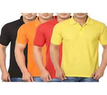 MULTICOLOR Casual Half Sleeve Polo t-Shirt For Men 4 packs.. Combo Pack of 4