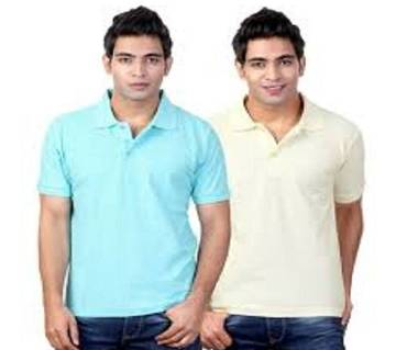MULTICOLOR Casual Half Sleeve Polo t-Shirt For Men combo 2 .. Combo Pack of 2