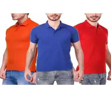 MULTICOLOR Casual Half Sleeve Polo t-Shirt For Men Combo Pack of 3
