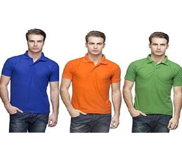 MULTICOLOR Casual Half Sleeve Polo t-Shirt For Men 3 combo.. Combo Pack of 3