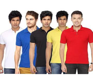 MULTICOLOR Casual Half Sleeve Polo t-Shirt For Men Combo Pack of 5