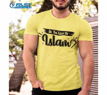 "Islamic White Lycra Single Jercy T-shirt For Man ""be The Light Of Islam"""