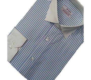 Formal full sleeve sotton shirt 03-white stripe