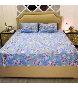 Double size cotton bedsheet set -sky blue