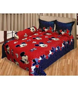 Double size cotton bedsheet set -red