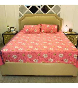 Double size cotton bedsheet set -orange