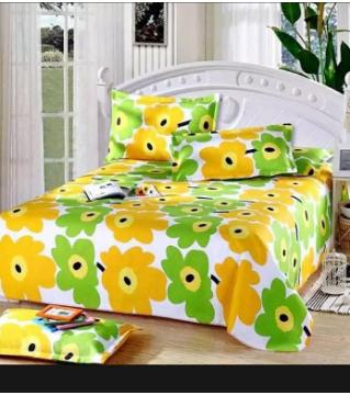 Double size cotton bedsheet set -green
