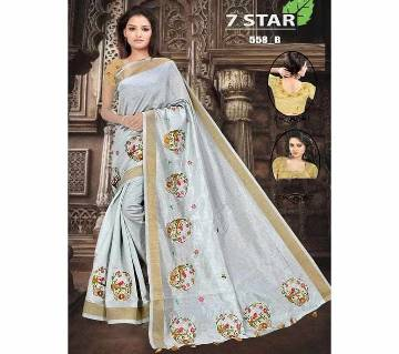 Indian sharee 7 star- velvet cotton fabrics with blouse piece