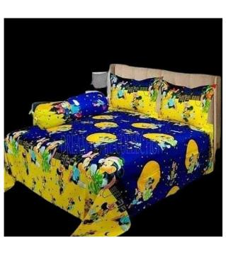 king size double bed Sheets set-yellow blue