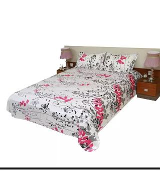 king size double bed Sheets bed Sheets 121 -white pink