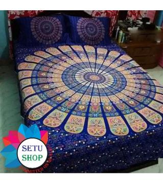 king size bedsheet and cover -blue