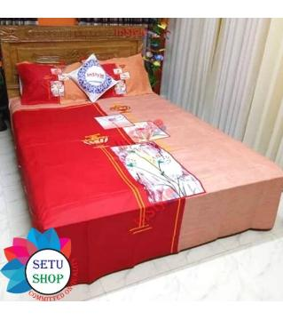 king size bedsheet and cover  -red and pink