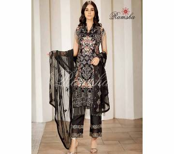 Unsttitched Net Emboidery Three Piece - Black