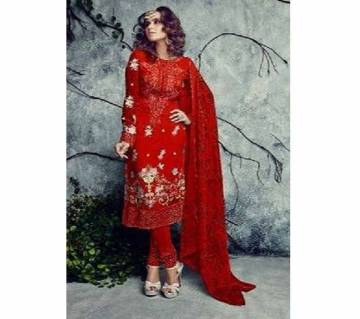 Unsttitched Net Emboidery Three Piece - Red