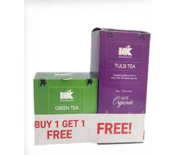 KK Tulsi Tea Box 40 Sachets (60 gm)-Buy 1 Get 1 Kazi & Kazi Green Tea Box 2