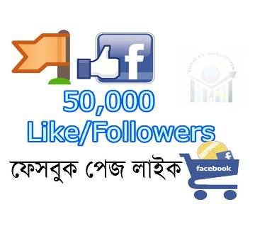 50000 (50k) Facebook Page Like/followers Direct Promote Page