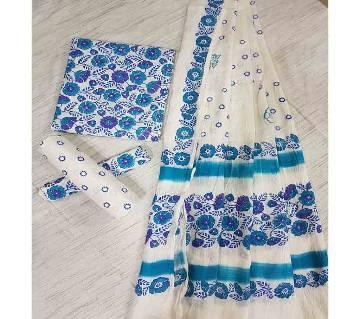 Unstitched Adi Cotton Block Printed Salwar Kameez for Women-7