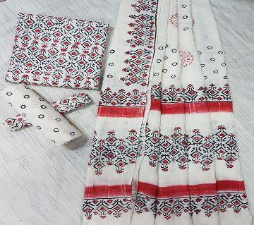 Unstitched Adi Cotton Block Printed Salwar Kameez for Women-12