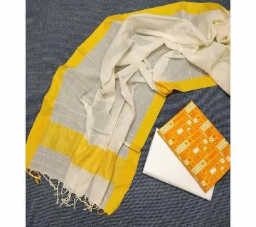 Unstitched Tat Original Cotton Multi Color Deshi Shalwar Kameez-20