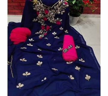 Semi Stitched Indian Weightless Georgette -embroidery 3 Piece For Women-6