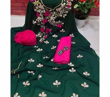 Semi Stitched Indian Weightless Georgette -embroidery 3 Piece For Women-7