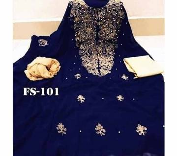 Semi Stitched Indian Weightless Georgette -embroidery 3 Piece For Women-15