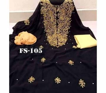 Semi Stitched Indian Weightless Georgette - Embroidery Three Piece-24