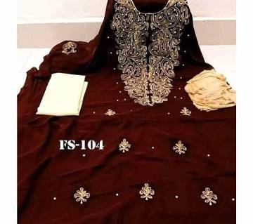 Semi Stitched Indian Weightless Georgette - Embroidery Three Piece-25