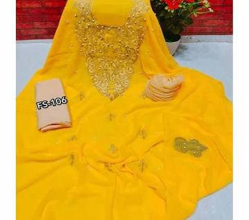 Semi Stitched Indian Weightless Georgette - Embroidery Three Piece yellow-26