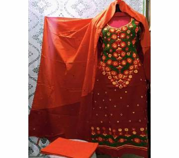 Unstitched  Fulkari Arye Hand work Three piece For Women-24