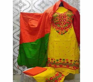 Unstitched Fulkari Hand Work  Shalwar Kameez/Three Piece for Women-25
