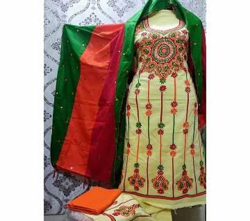 Unstitched Fulkari Hand Work  Shalwar Kameez/Three Piece for Women-26