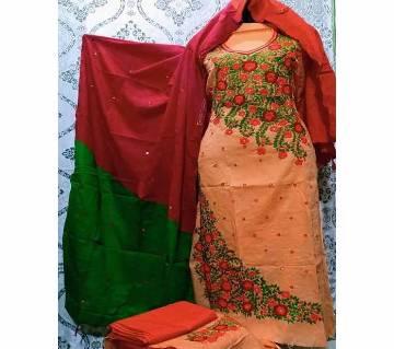 Unstitched Fulkari Hand Work  Shalwar Kameez/Three Piece for Women-28