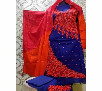 Unstitched Fulkari Hand Work  Shalwar Kameez/Three Piece for Women-29