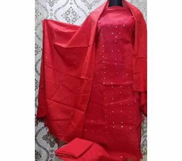Unstitched Fulkari Hand Work  Shalwar Kameez/Three Piece for Women-30