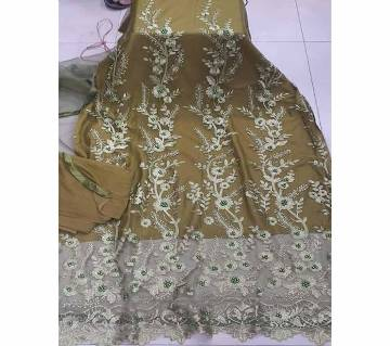 Unstitched Fabric Embroidered Cotton Net Unstitched 3 Piece(With inner)-16