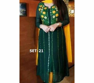 Semi stitched indian weightless Georgette -Embroidery 3 piece for women-40