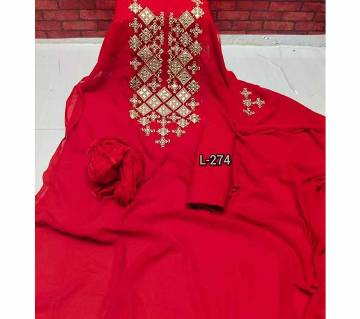Semi stitched indian weightless Georgette -Embroidery 3 piece for women-50