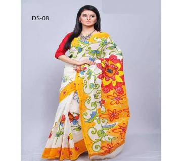 Multicolour Kota Hand Print Saree with Blouse Piece for Women-019