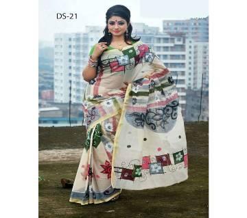 Multicolour Cotton Kota Hand Print Saree with Blouse Piece for Women-024