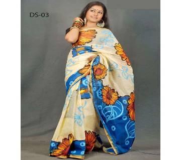Multicolour Cotton Kota Hand Print Saree with Blouse Piece for Women-025Multicolour Cotton Kota Hand Print Saree with Blouse Piece for Women-025