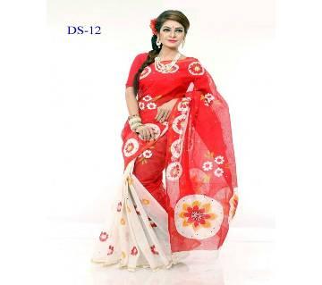 Multicolour Cotton Kota Hand Print Saree with Blouse Piece for Women-029