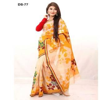 Multicolour Cotton Kota Hand Print Saree with Blouse Piece for Women-40