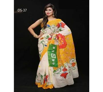 Multicolour Cotton Kota Hand Print Saree with Blouse Piece for Women-42
