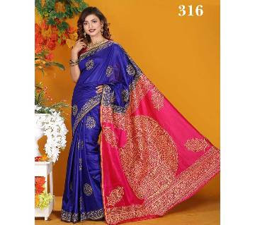 Multicolour Silk Jamdhani Butick  Saree with Blouse Piece for Women-316