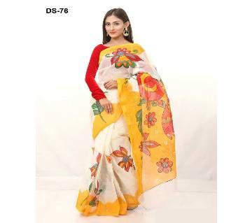 Multicolour Cotton Kota Hand Print Saree with Blouse Piece for Women-76