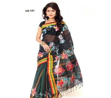 Multicolour Cotton Kota Hand Print Saree with Blouse Piece for Women-101