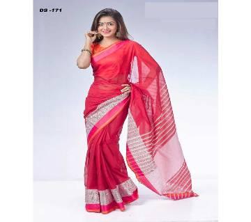 Multicolour Tat cotton Saree with Blouse Piece for Women-171